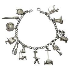Vintage Older Charm Bracelet Sterling Silver Mechanical Moving Charms 13 Charms
