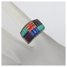 Turquoise Coral Sterling Silver Lapis Channel Carved Ring QT Size 5