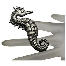 Vintage  Sterling Silver Seahorse Sea Horse Figural Pin Brooch Big