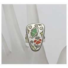 RNL Ruddell and Nancy Laconsello Relios Sterling Silver Butterfly Flower Inlay Ring Size 6 Zuni