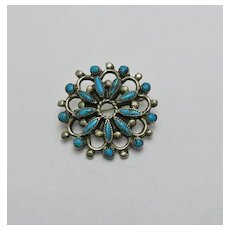 Petite Zuni Indian Needlepoint Turquoise Sterling Silver Pin Signed RAE