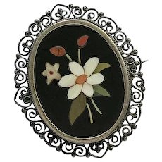 Vintage Sterling Silver Pietra Dura Flower Filigree Pin