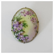 Victorian Hand Painted Violets Flowers Porcelain C Clasp  Brooch Pin