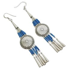 Long Sterling Silver Native American Indian Turquoise Bead Drop Earrings