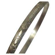 Vintage Beau Sterling Silver Floral Flower Bangle Bracelet
