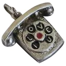 Vintage Sterling Silver I Love You Enamel Rotary Phone Charm
