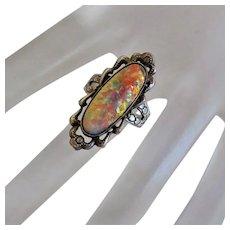 Vintage  Long Face Foil Art Glass Ring SouthWestern Style Sterling Siver Size 6 Sanford