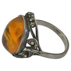 Vintage Sterling Silver Filigree  Amber Ring Size 7