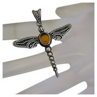 Sterling Silver Bali Bead Genuine Amber Dragon Fly Dragonfly Pendant