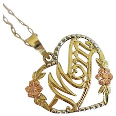 10K Mom Mother Heart Tri Color Floral  Pendant And Chain Yellow Gold Necklace