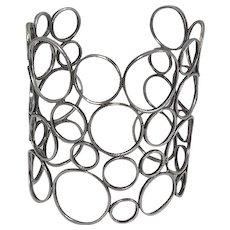 Wide Vintage Artisan Modernist Abstract Sterling Silver Circle Cuff Bracelet Statement Piece