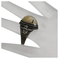 Early Native American Indian Vintage Sterling Silver Petrified Wood Ring Size 9 and 1/2