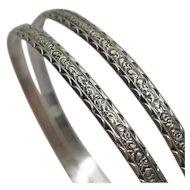 Art Nouveau Vintage Sterling Silver Fancy Bangle Bracelet