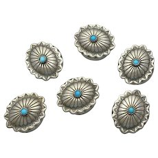 Vintage Native American Indian Turquoise Sterling Silver Top Button Covers Full Set!