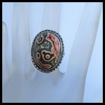 Vintage Native American Indian Petrified Wood Sterling Silver Ring Size 6 and 1/2