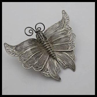 Big Large Vintage 950 High Grade Sterling Silver Filigree Cannetille Butterfly Insect Pin