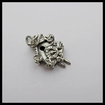 Vintage Beau Sterling Silver Moving Mechanical Cuckoo Clock Charm Birds and Ivy