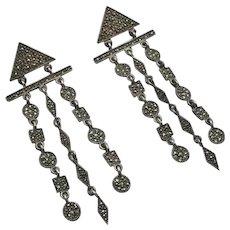 Vintage LONG Marcasite Sterling Silver Earrings