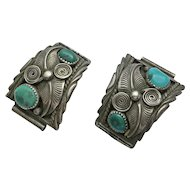 Vintage Native American Indian Sterling Silver Watch Tips Turquoise