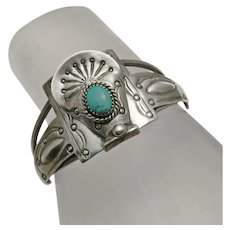 Vintage  Native American Indian DSC Sterling Silver Turquoise Cuff Bracelet
