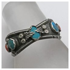 Vintage Native American Indian Zuni  Milton Lasiloo Sterling Silver Turquoise Coral Cuff Bracelet