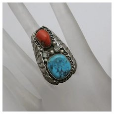 Large Face Vintage Native American Sterling Silver Turquoise Coral  Men's Man's Ring Size 10