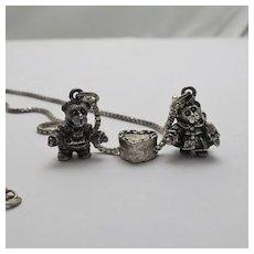 Vintage Paddington Bear Charm Necklace Sliding Heart Sterling Silver