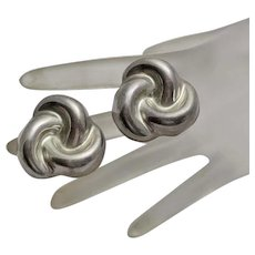 Mexican Sterling Silver Puffed Button Swirl Earrings Big Abstract