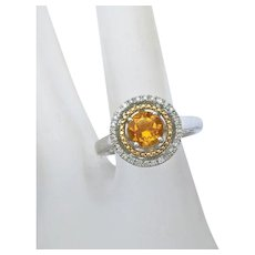 Alwand Vahan 14K Yellow Gold Sterling Silver Citrine  & Diamond Halo Ring Size 6 and 3/4