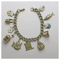 Vintage Sterling Silver  Charm Bracelet with Older Charms Enamel Asian Travel Buddah Plus