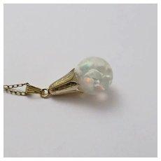 Vintage 1940s Floating Opal Necklace Pendant Gold Filled  Tulip Design