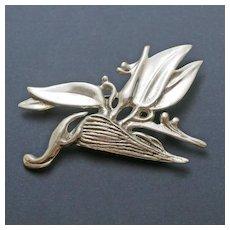 Large  Ming's  Honolulu Hawaii Sterling Silver  Bird of Paradise Brooch Pin