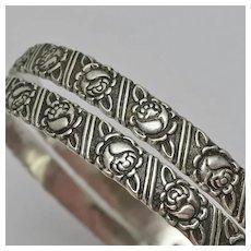 Vintage Sterling Silver Rose Floral Flower Bangle Bracelet Set