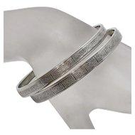 Vintage Beau Sterling Silver Geometric Pattern  Bangle Bracelet Set SALE