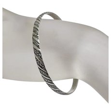 Vintage Sterling Silver  Danecraft Fancy  Bangle Bracelet