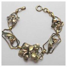 Vintage Carl Art Gold Filled On Silver Flower Floral Bracelet 1940s Patented Flower