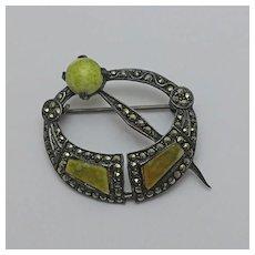 Vintage Irish Sterling Silver Marcasite Connemara Marble Pin