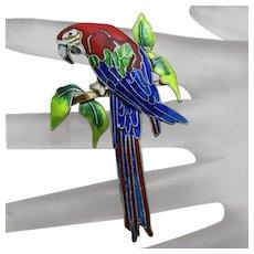 Zarah Enamel Sterling Silver Macaw Parrot  Figural Pin