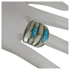 Gilbert Ortega Vintage Indian Sterling Silver Turquoise MOP Inlay Mother of Pearl Wide Band Ring Size 8