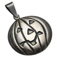 Vintage Sterling Silver Halloween Carved Pumpkin Necklace Pendant Jack O Lantern