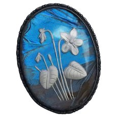 Vintage English  Butterfly Wing Sterling Silver Pin Floral Flowers