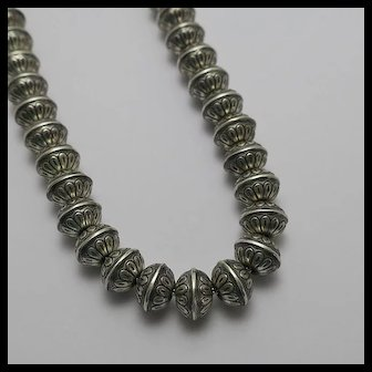 Native American Indian Navajo Sterling Silver Hand Made Bench Bead  Necklace