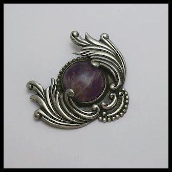 Early Vintage Los Castillo Sterling Silver  Amethyst  Pin Pre Eagle Big