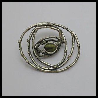 Vintage Modernist Sterling Silver Abstract Cat's Eye Israel Israeli Pin