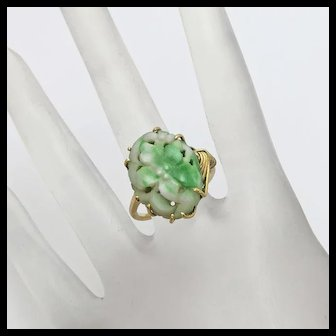 Vintage 18k Yellow Gold  Oriental Carved Jade Jadeite Flower Ring Size 7 and 1/2