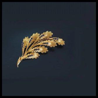 Vintage Fine Italian 18K Gold Sapphire Floral  Spray Pin Brooch