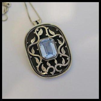 Vintage Israel Blue Stone Sterling Silver Vine Design Pendant Necklace Pin Large