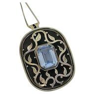Vintage Israel Blue Stone Sterling Silver Vine Design Pendant Necklace Pin Large SALE