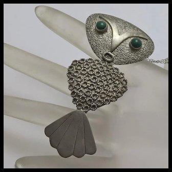 Vintage Modernist Abstract Large Owl Pin Pendant 900 Silver Joaquin Humberto Tinta Ecuador