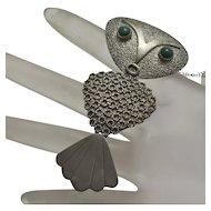 Vintage Modernist Abstract Large Owl Pin Pendant 900 Silver Joaquin Humberto Tinta Ecuador SALE